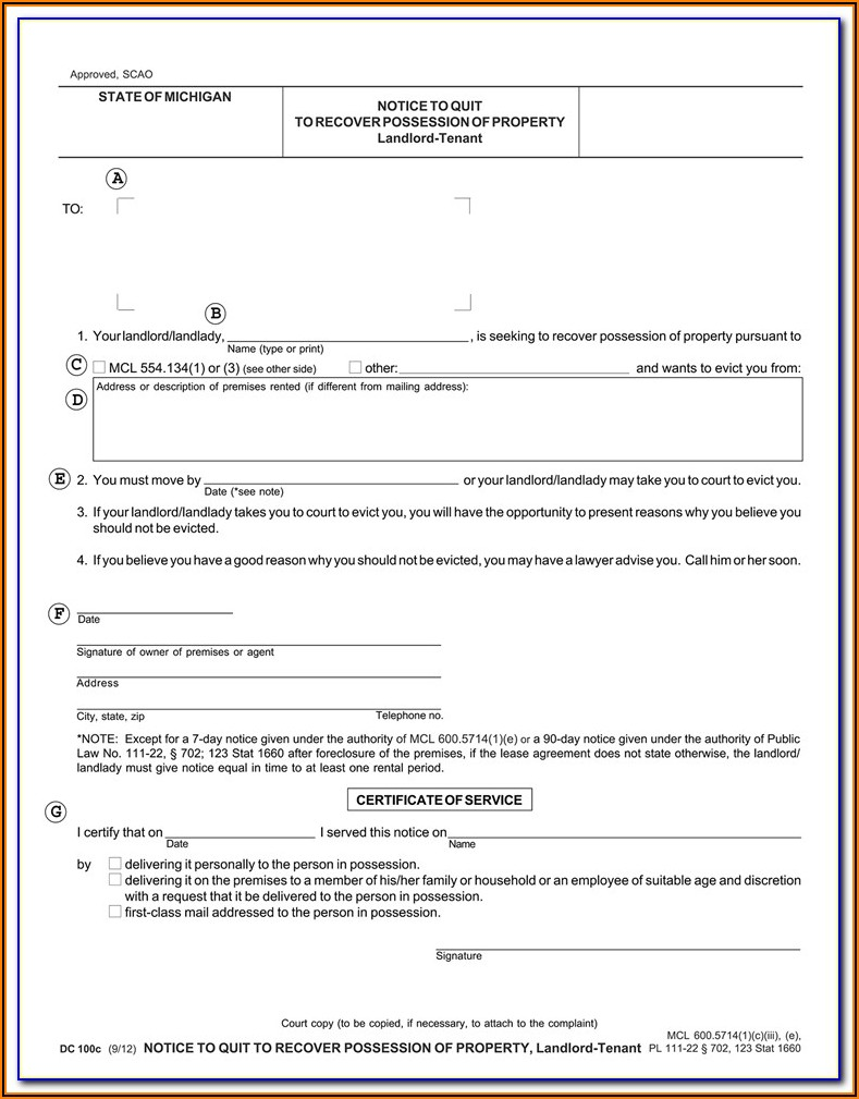 Michigan 30 Day Eviction Notice Form