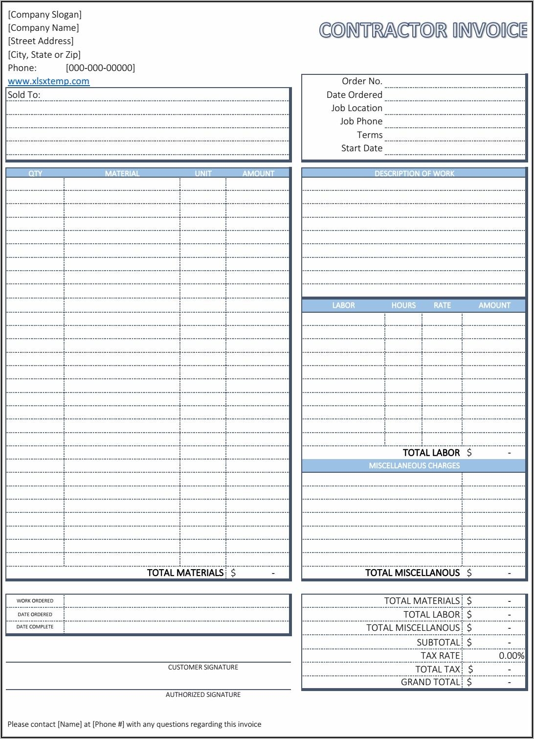 Microsoft Word Contractor Invoice Template