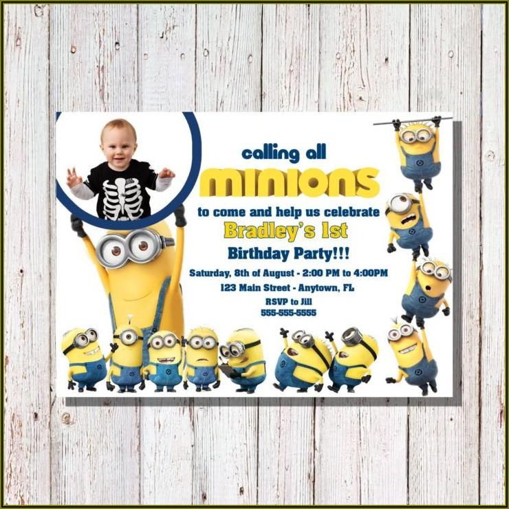 Minions 1st Birthday Invitation Templates