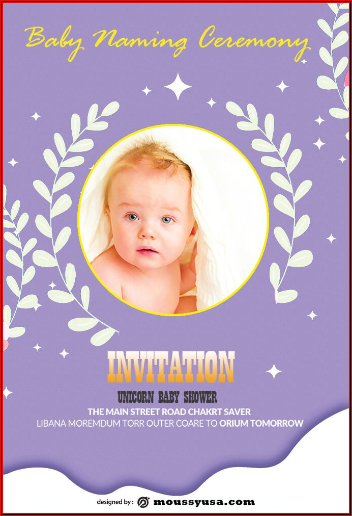 Naming Ceremony Invitation Card Template Free