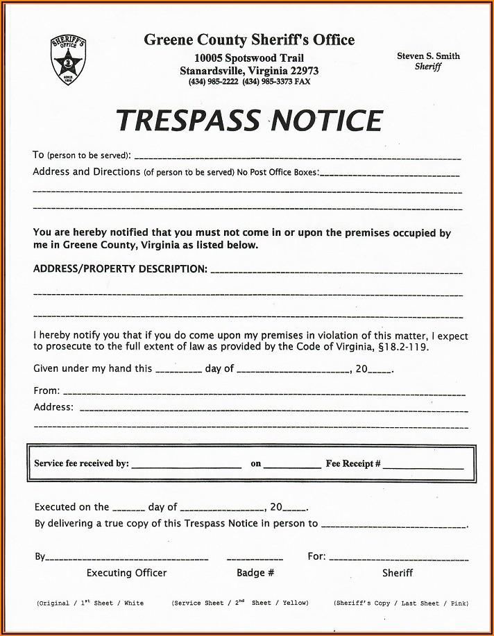 No Trespassing Form Virginia