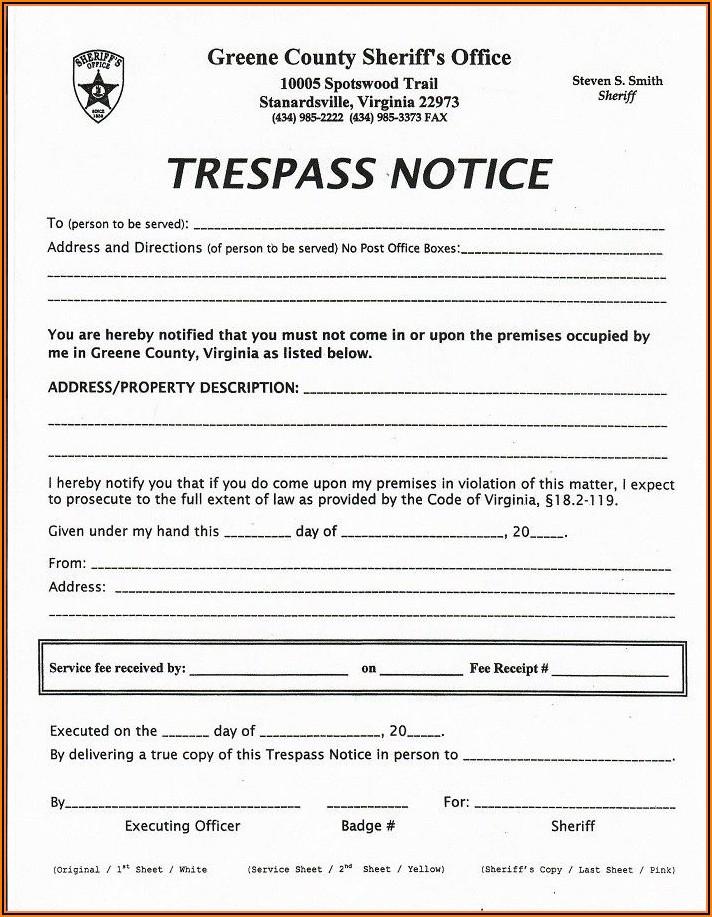 No Trespassing Order Form
