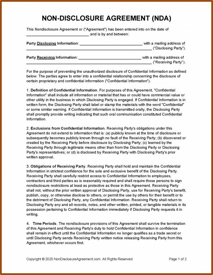 Non Disclosure Agreement Form Florida
