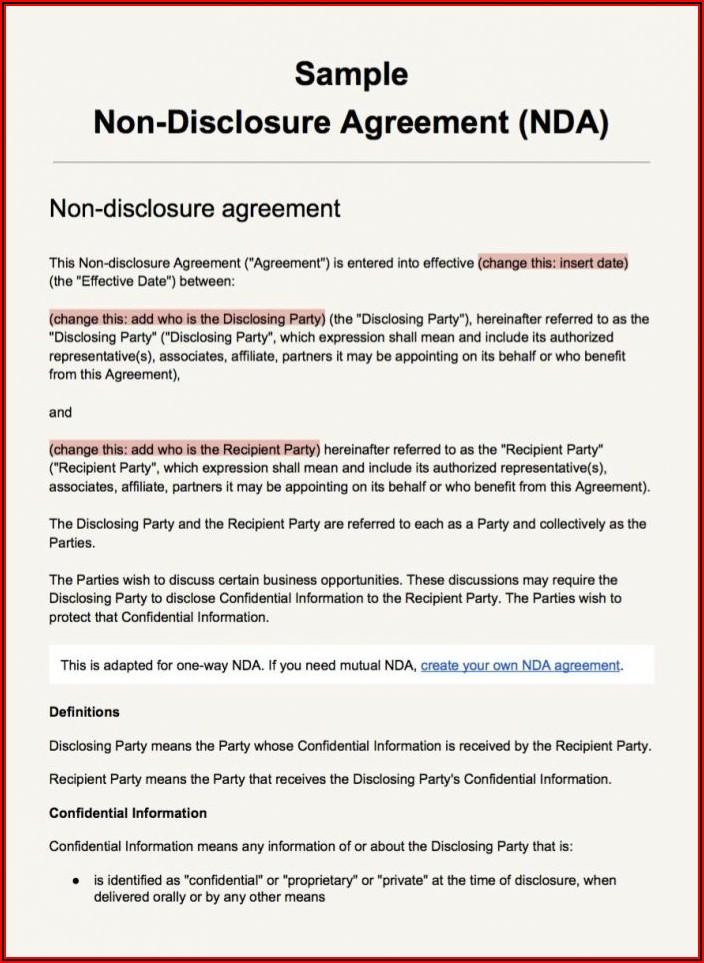 Non Disclosure Agreement Template Texas