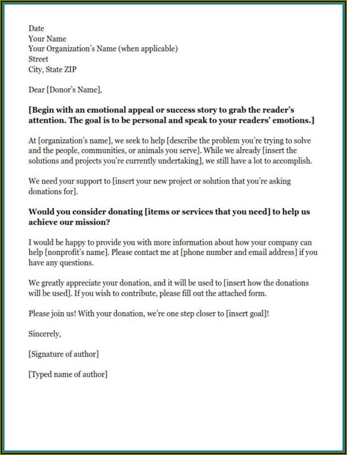 Non Profit Donation Letter Sample