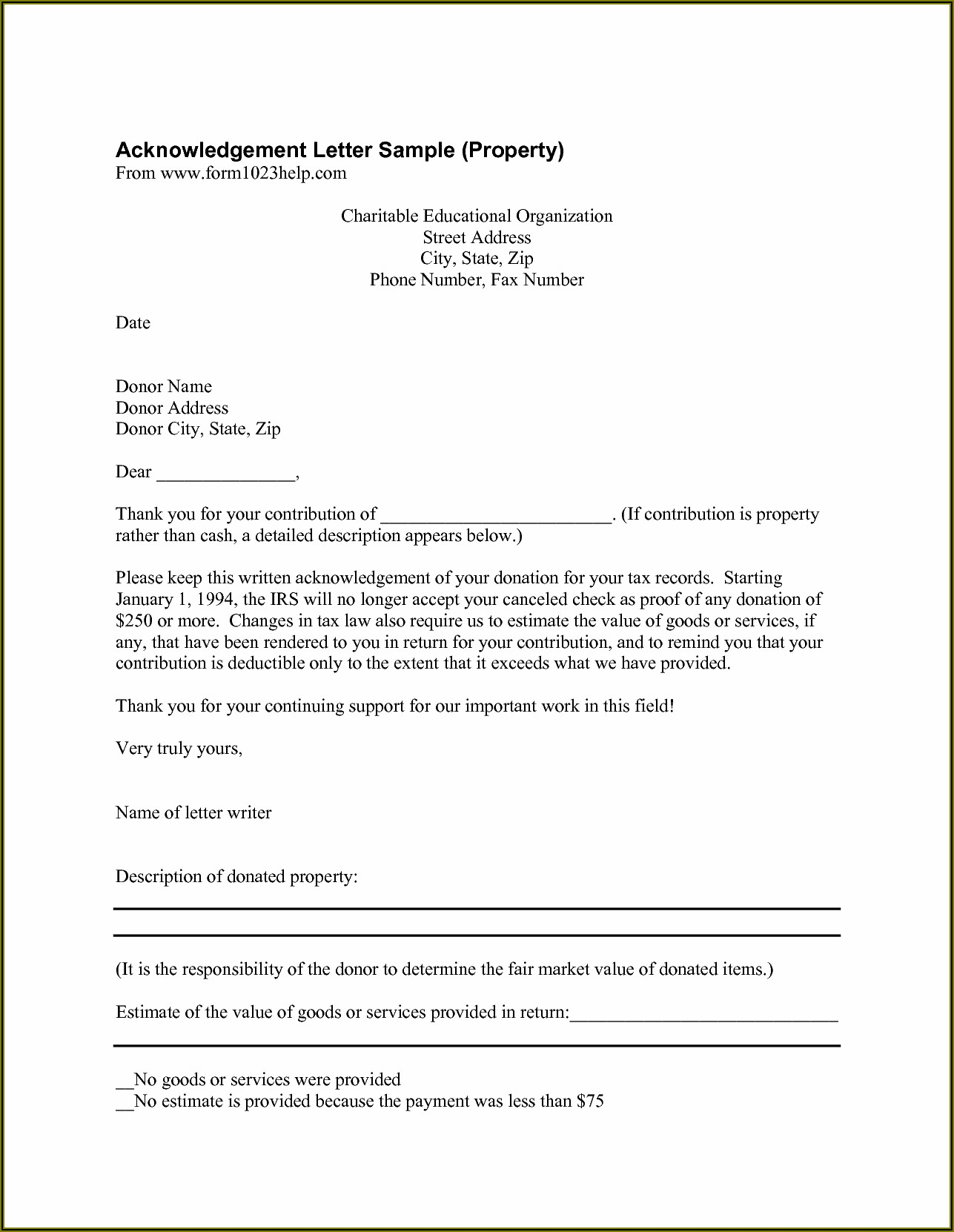 Non Profit Fundraising Letters Example