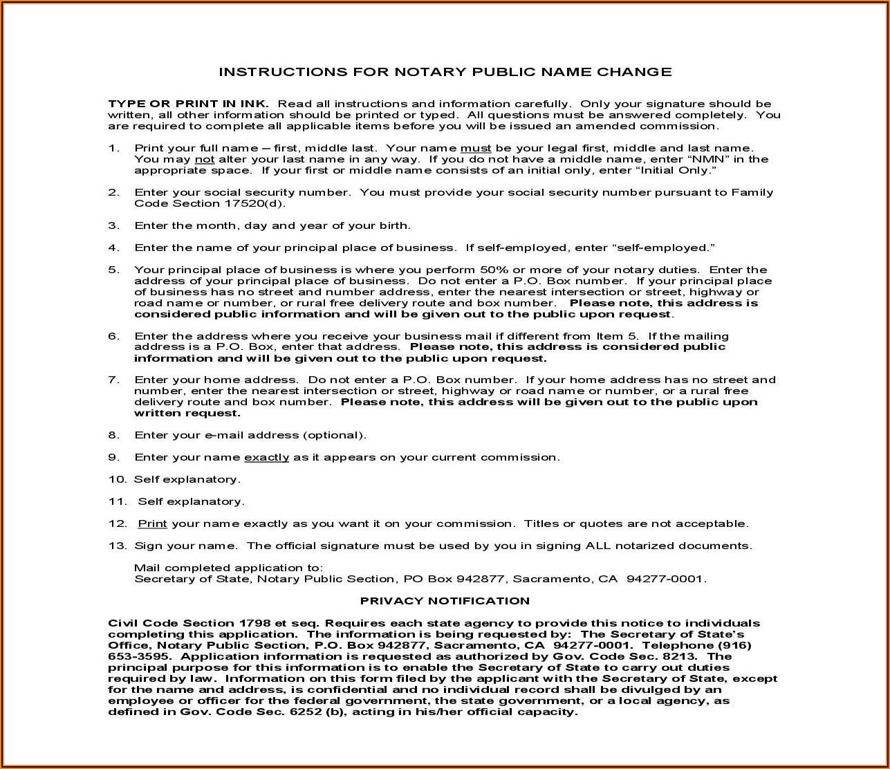 Notary Public Address Change Form California