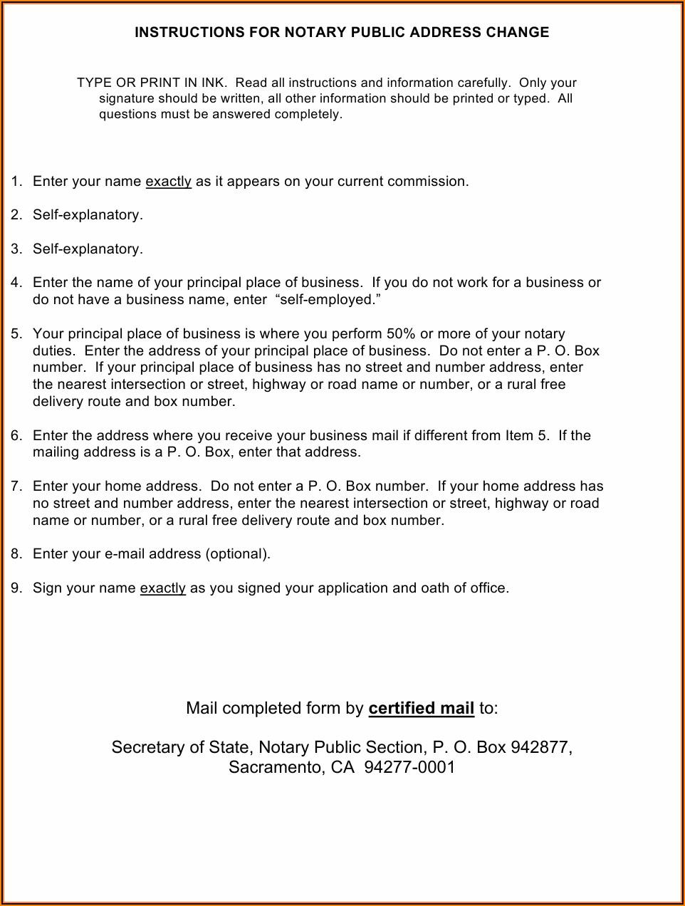 Notary Public Application Form California