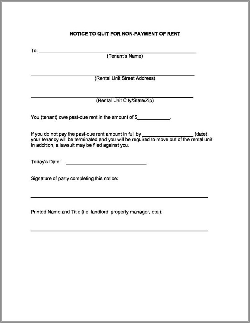 Notice To Vacate Forms