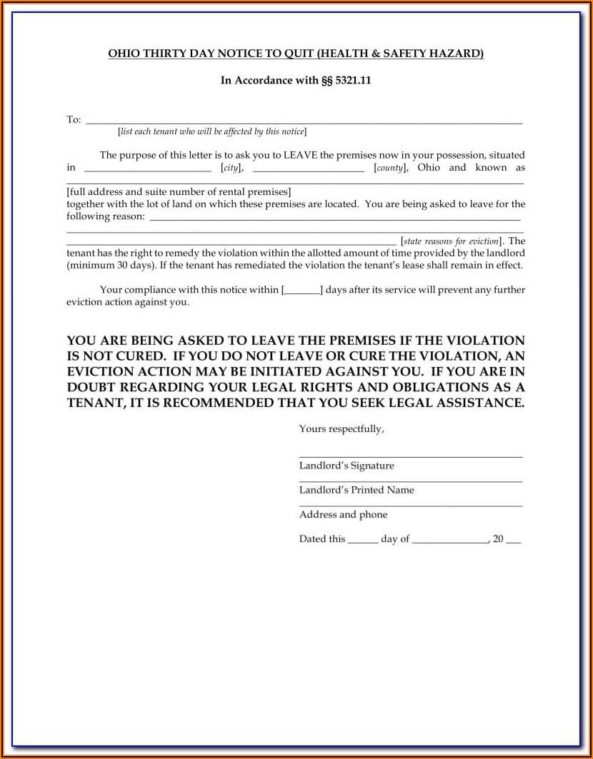 Ohio Eviction Notice Form Pdf