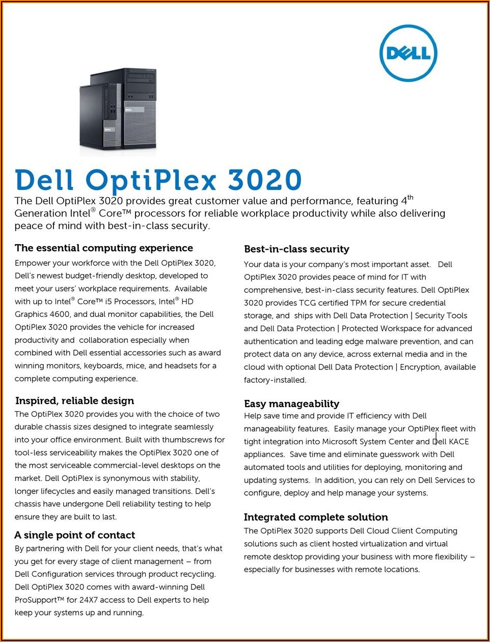 Optiplex 3020 Small Form Factor Specs