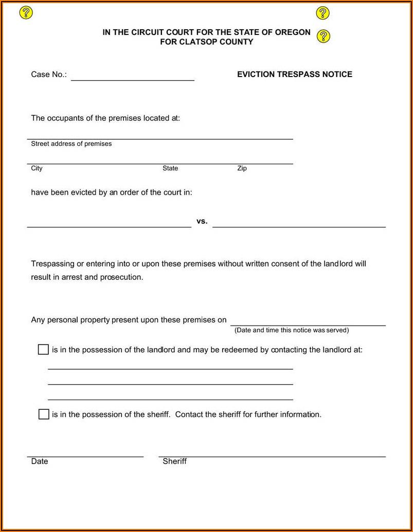 Oregon Eviction Notice Form