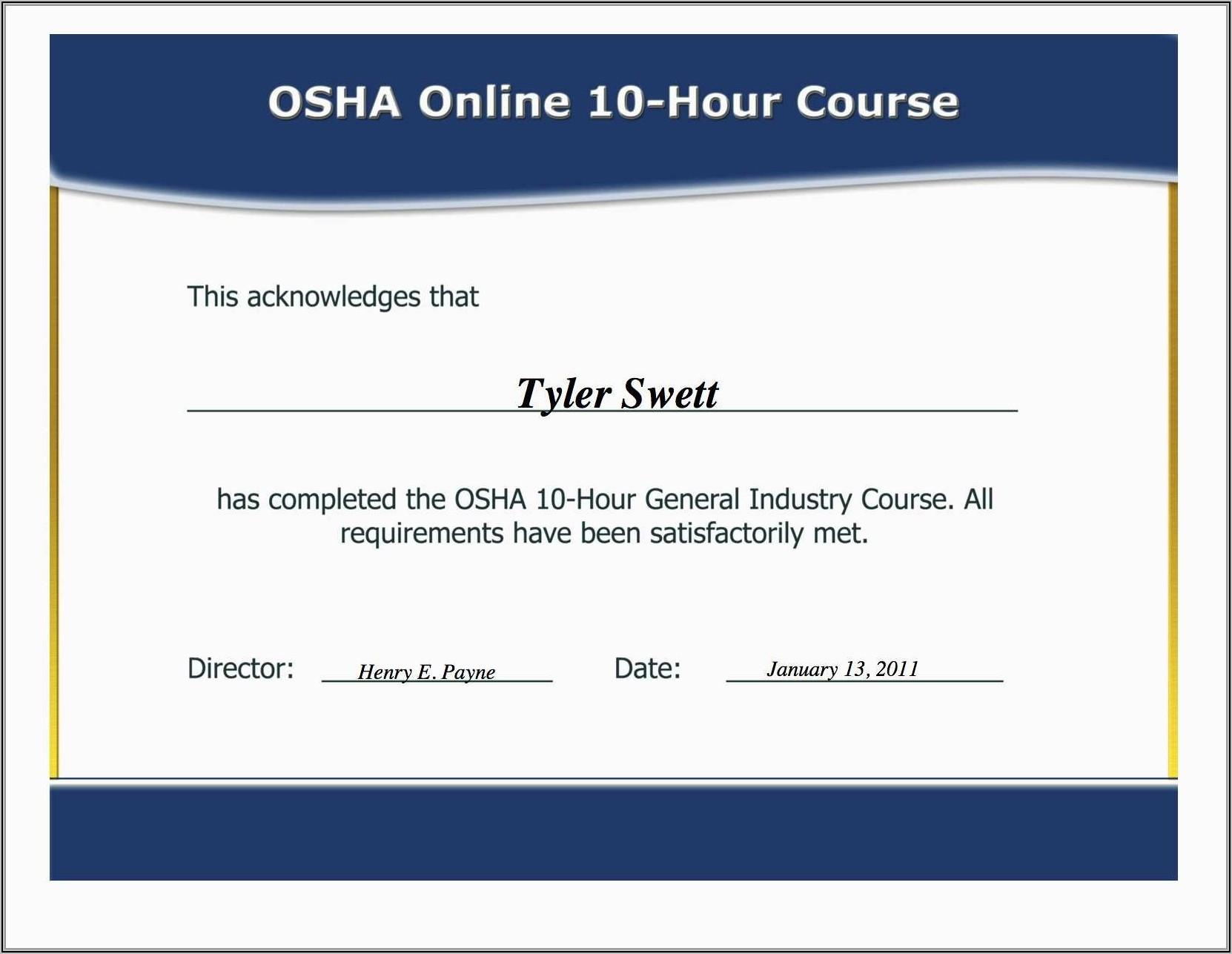 Osha Forklift Certification Card Template