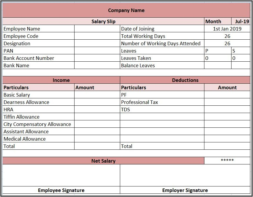 Pay Statement Template Excel