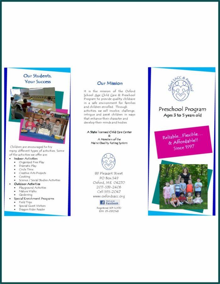 Preschool Brochure Template Free