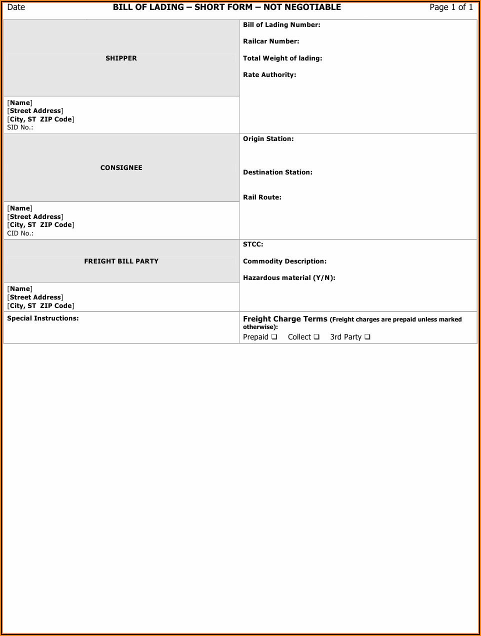 Printable Bill Of Lading Form Pdf