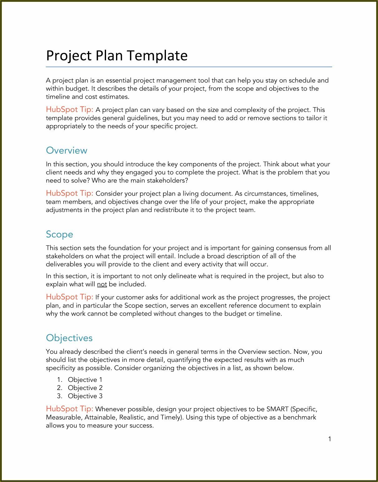 Project Plan Template Google Docs