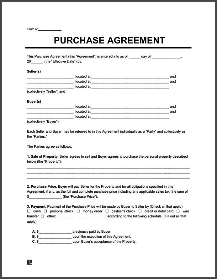 Property Sale Contract Template