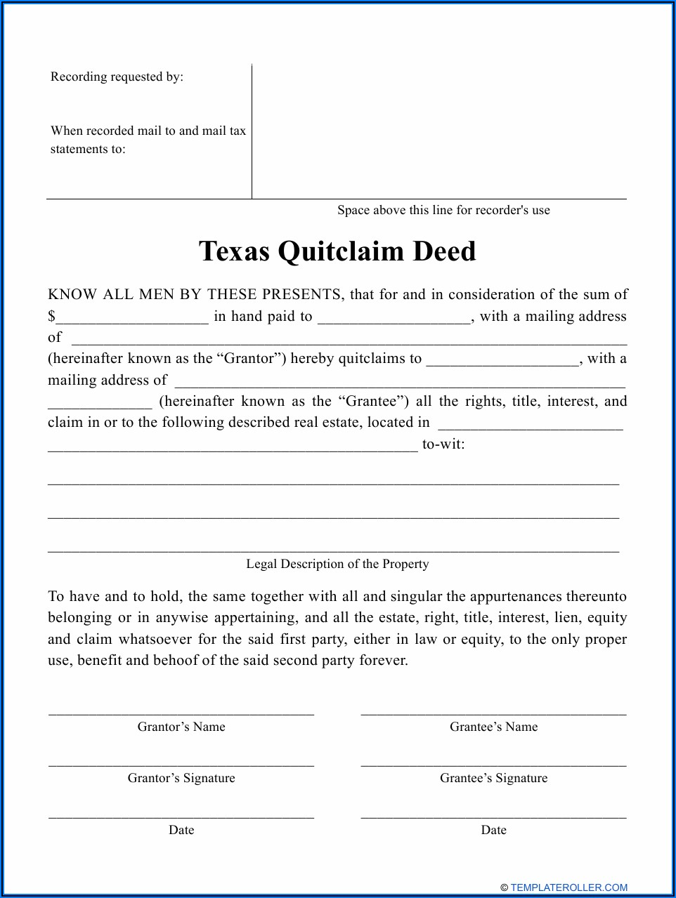 Quit Claim Deed Form Dallas County Texas