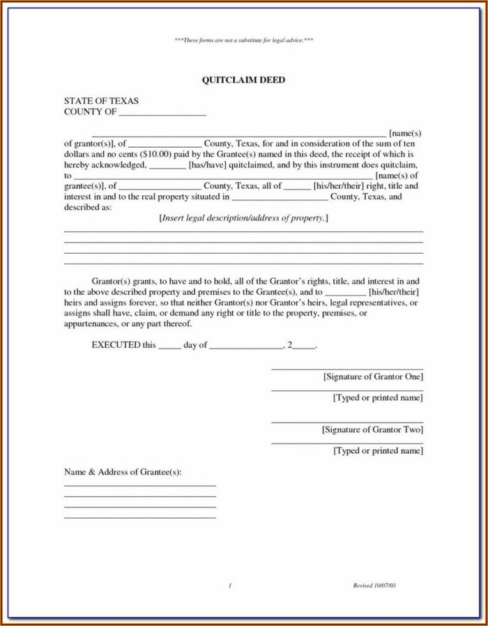 Quit Claim Deed Form Duval County Florida