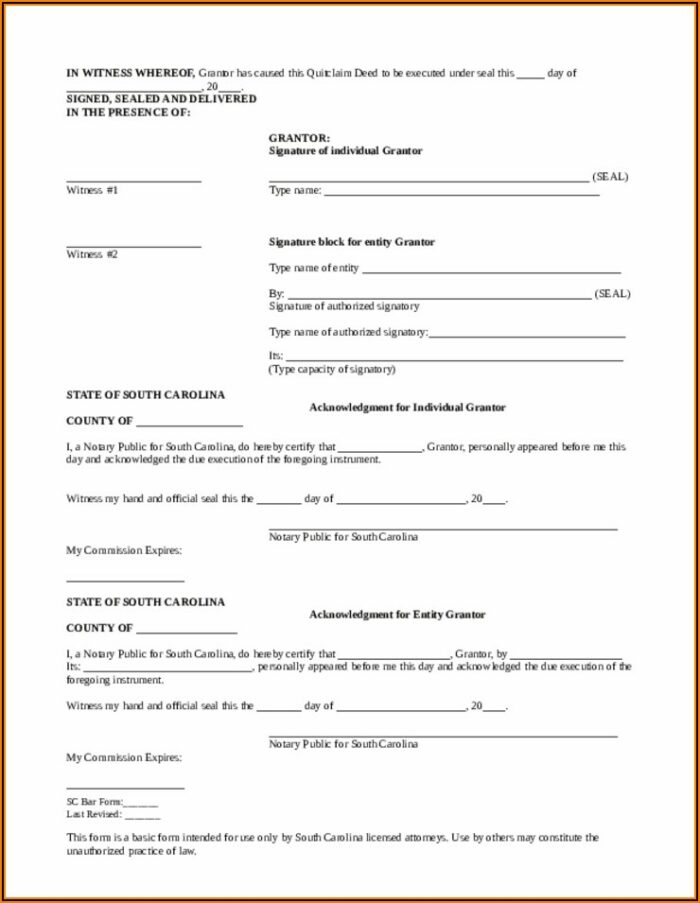 Quit Claim Deed Form Richland County Sc
