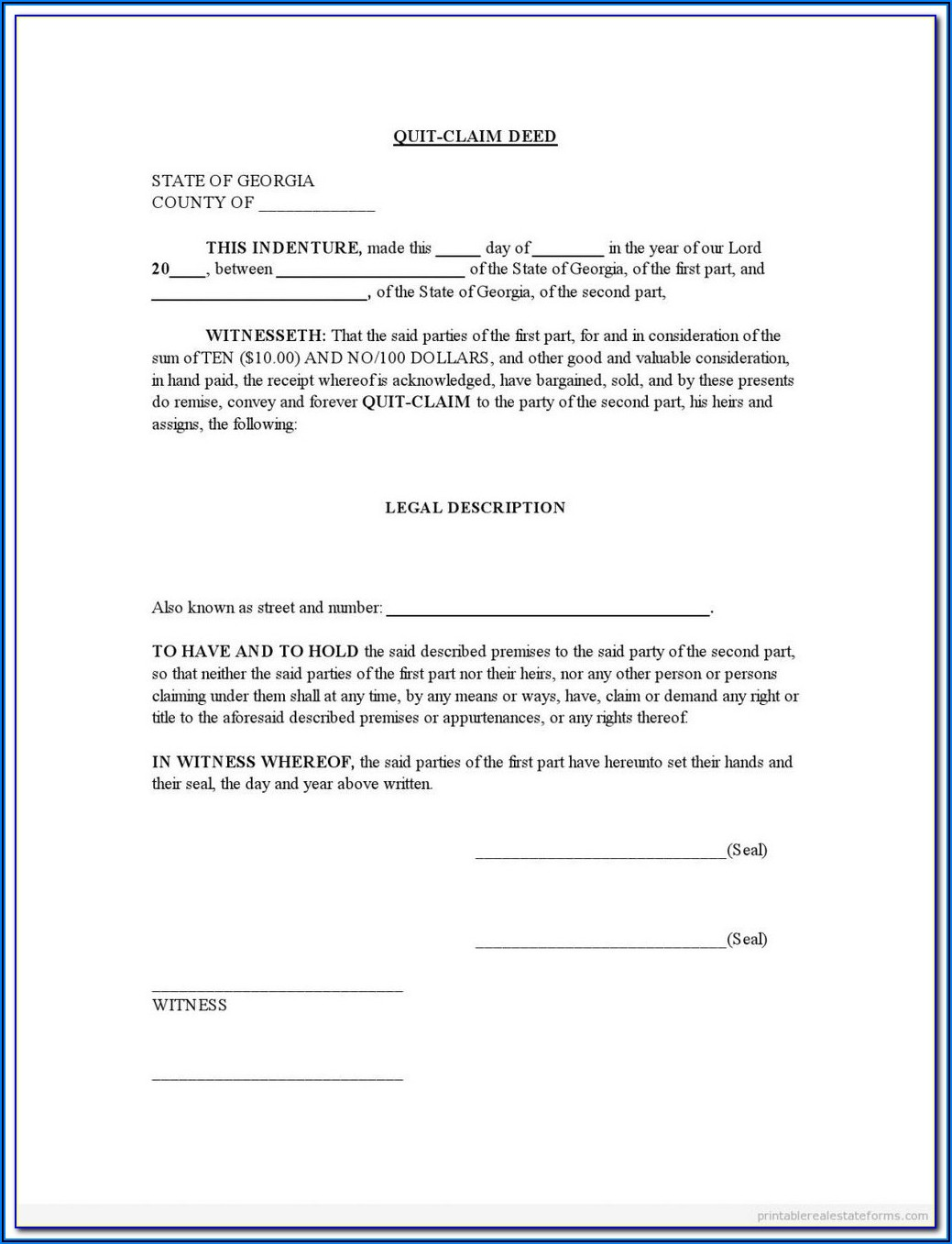 Quit Claim Deed Form Travis County Texas