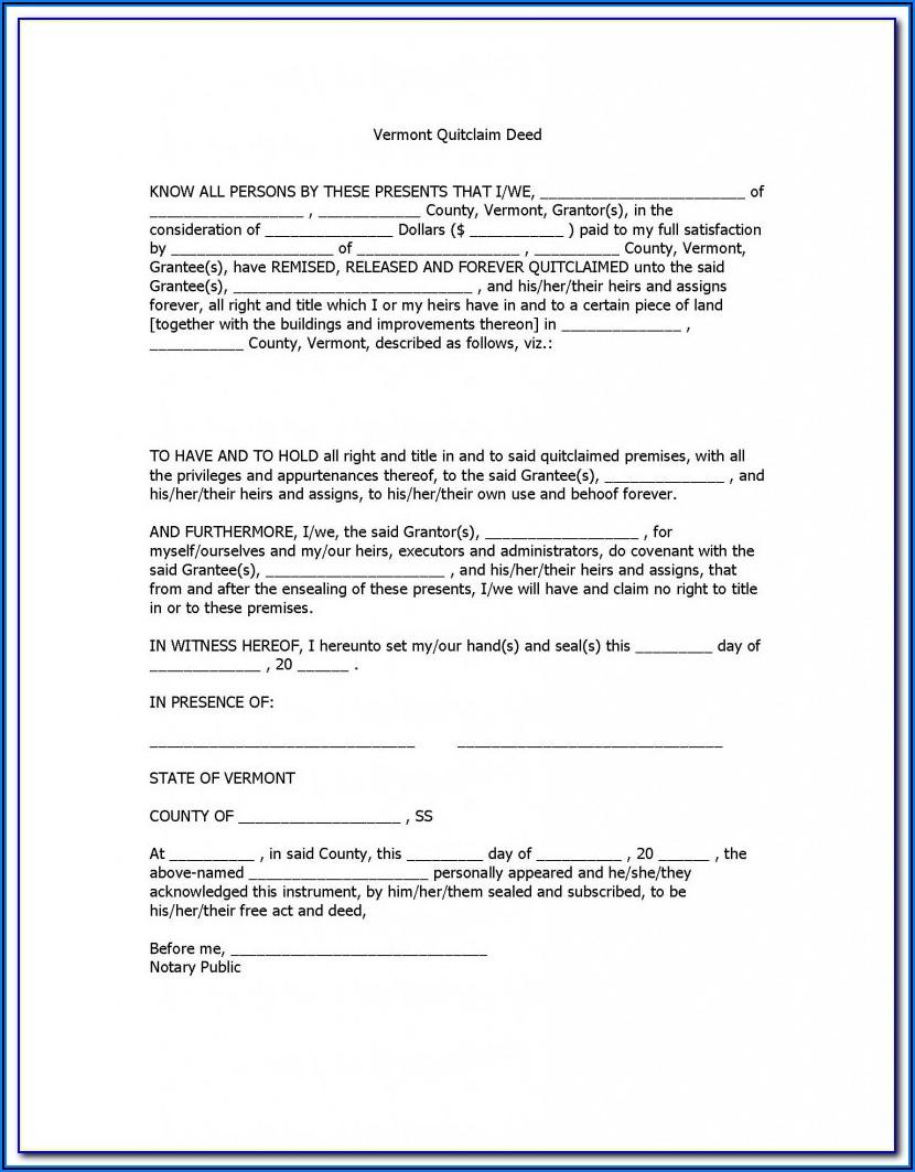 Quit Claim Deed Form Virginia