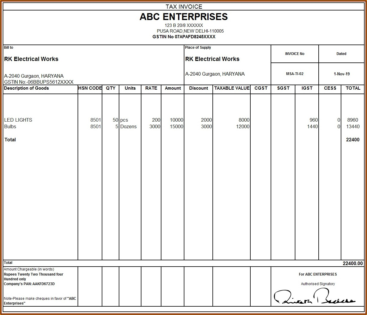Rent Invoice Format With Gst In Excel