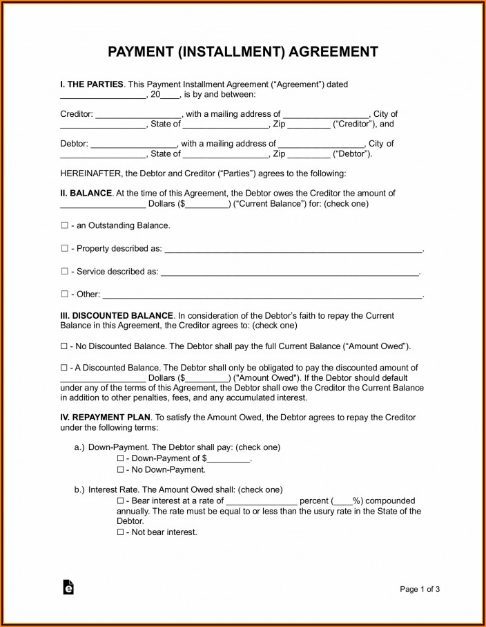 Retail Installment Contract Template