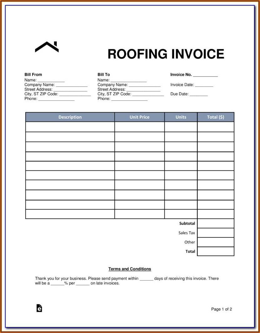 Roofing Bid Template Free