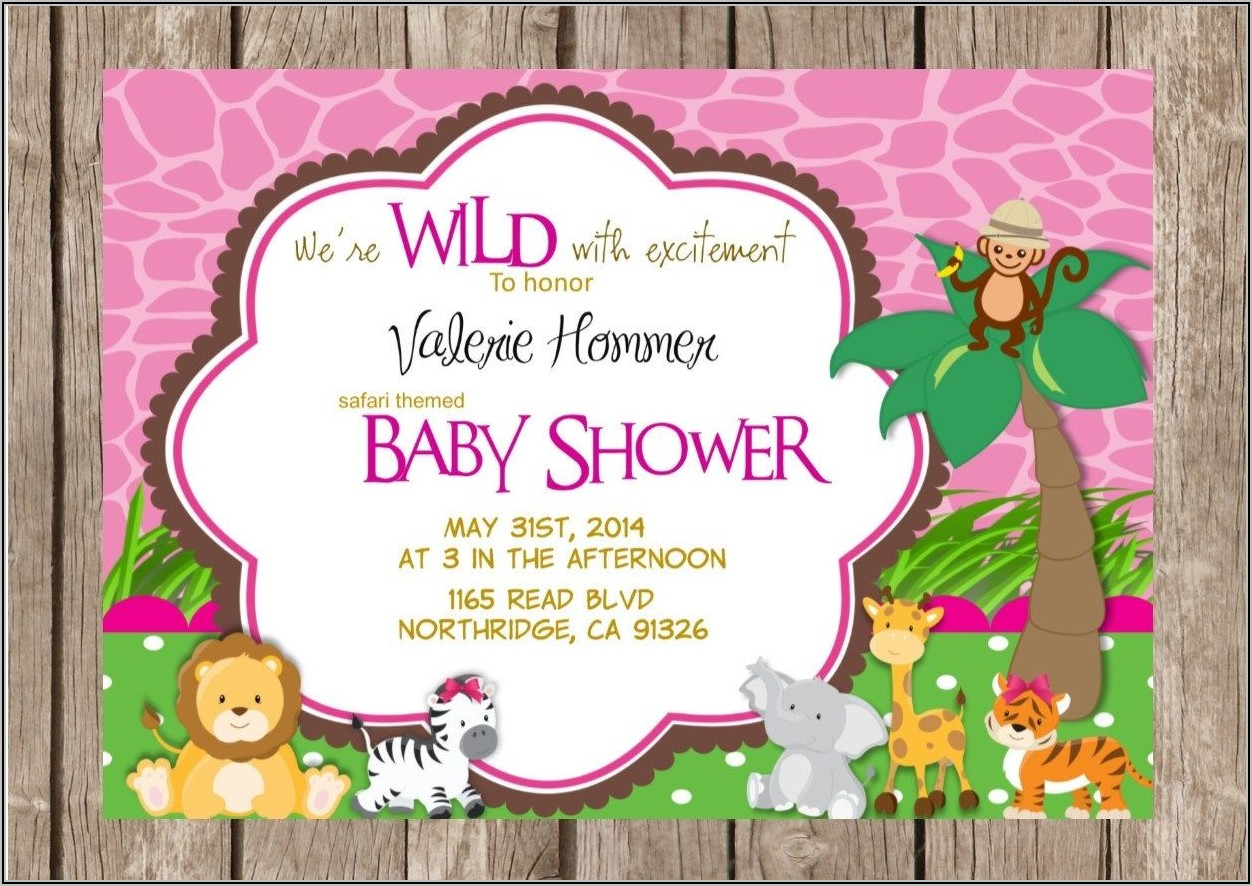 Safari Theme Baby Shower Invitation Templates