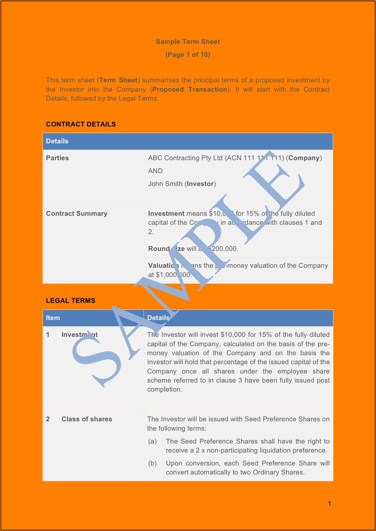 Seed Investment Term Sheet Template