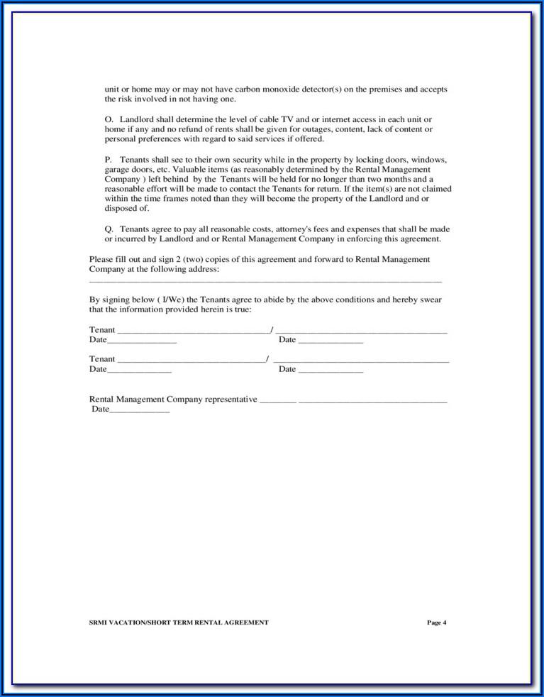 Short Term Rental Agreement Form Florida