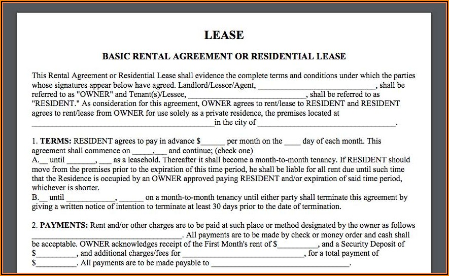 Simple Rental Lease Agreement Forms