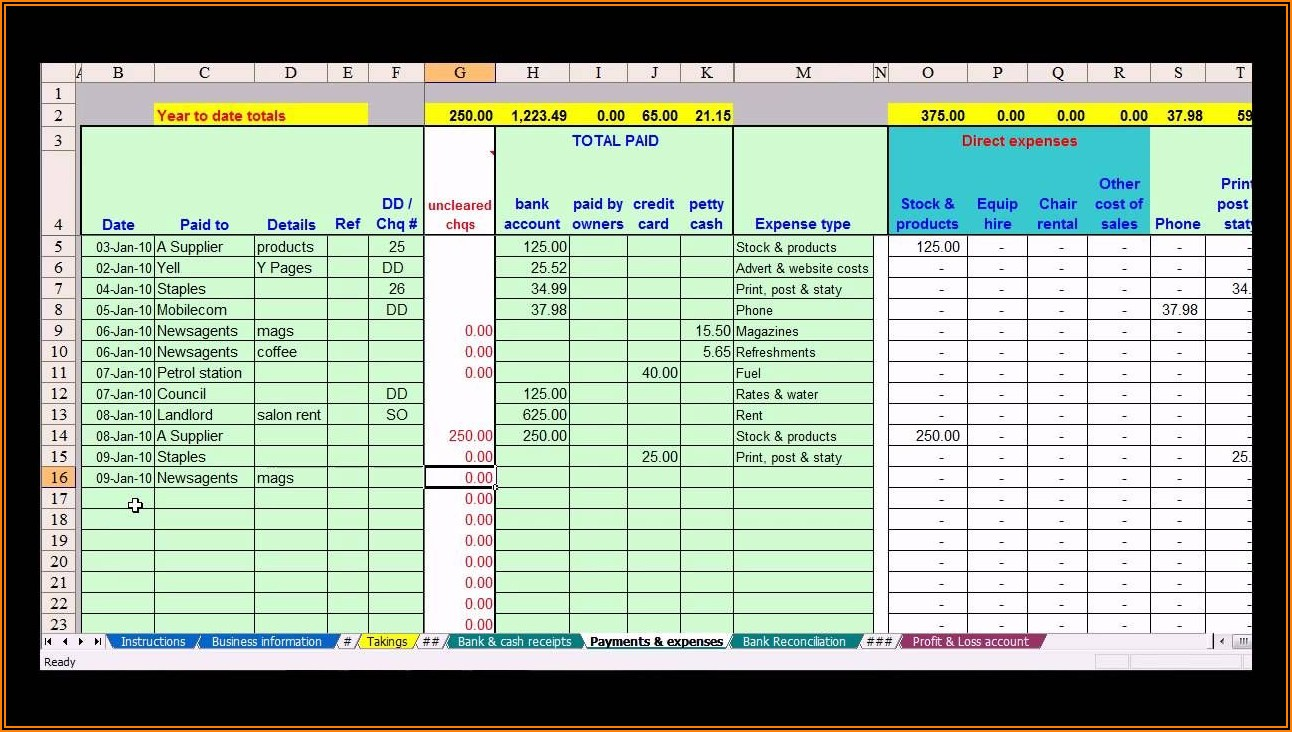 Small Business Bookkeeping Template Uk