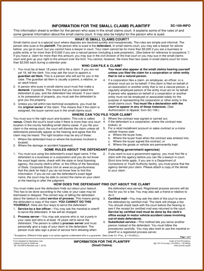 Small Claims Forms Ontario Canada