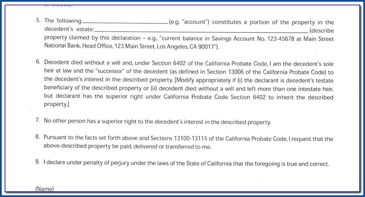 Small Estate Affidavit California Code 13100