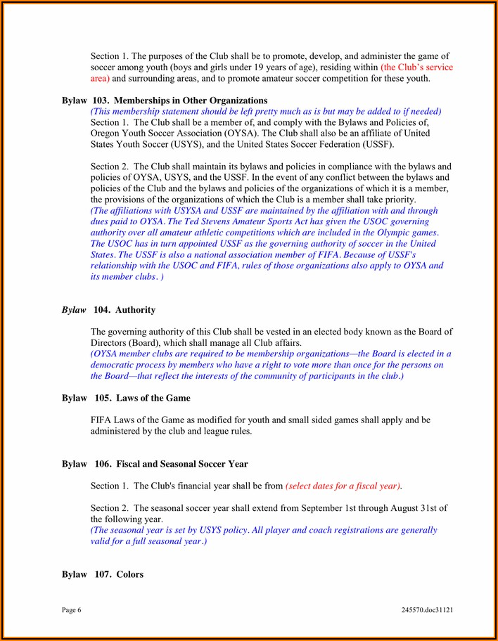 Soccer Club Bylaws Template