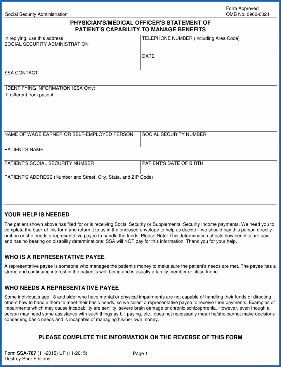 Social Security Disability Forms For Physicians