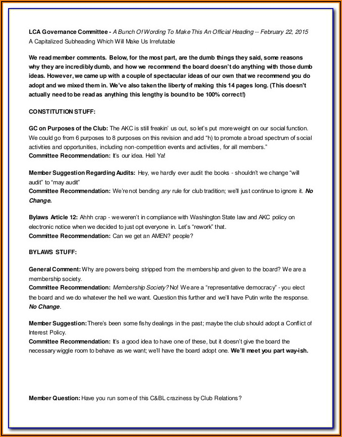 Sports Club Bylaws Template