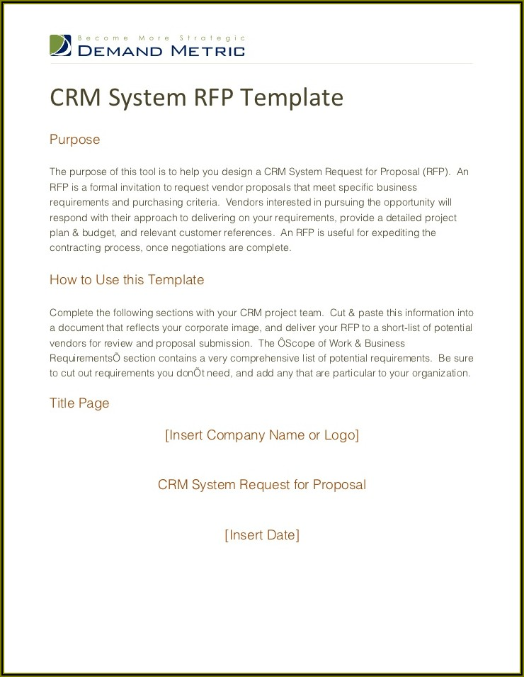 Standard Request For Proposal (rfp) Template And Guide