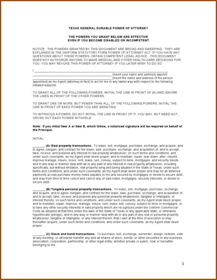 State Of Colorado Statutory Form Durable Power Of Attorney