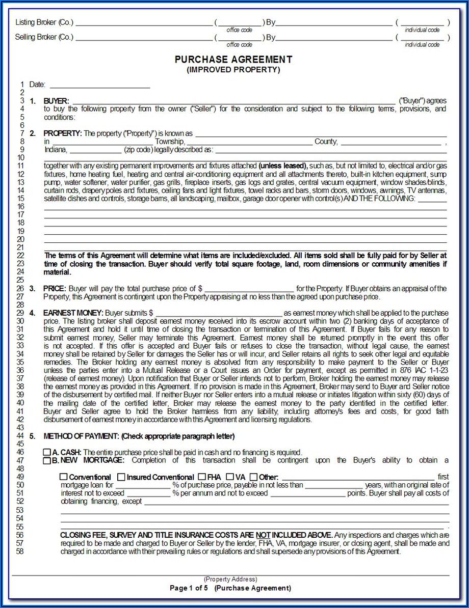 State Of Michigan Real Estate Purchase Agreement Form