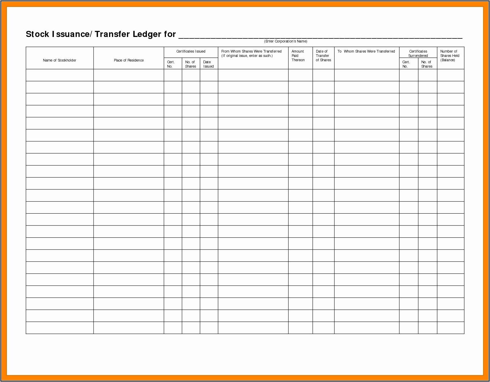 Stock Transfer Ledger Template