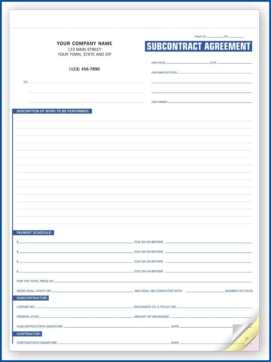 Subcontractor Agreement Forms
