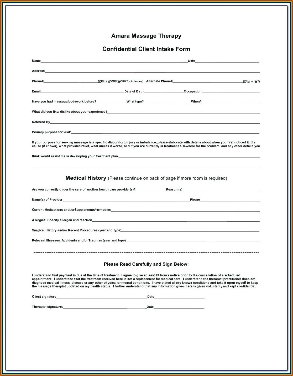 Tax Client Intake Form Template