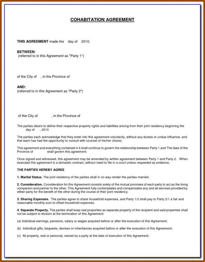 Template For Property Settlement Agreement