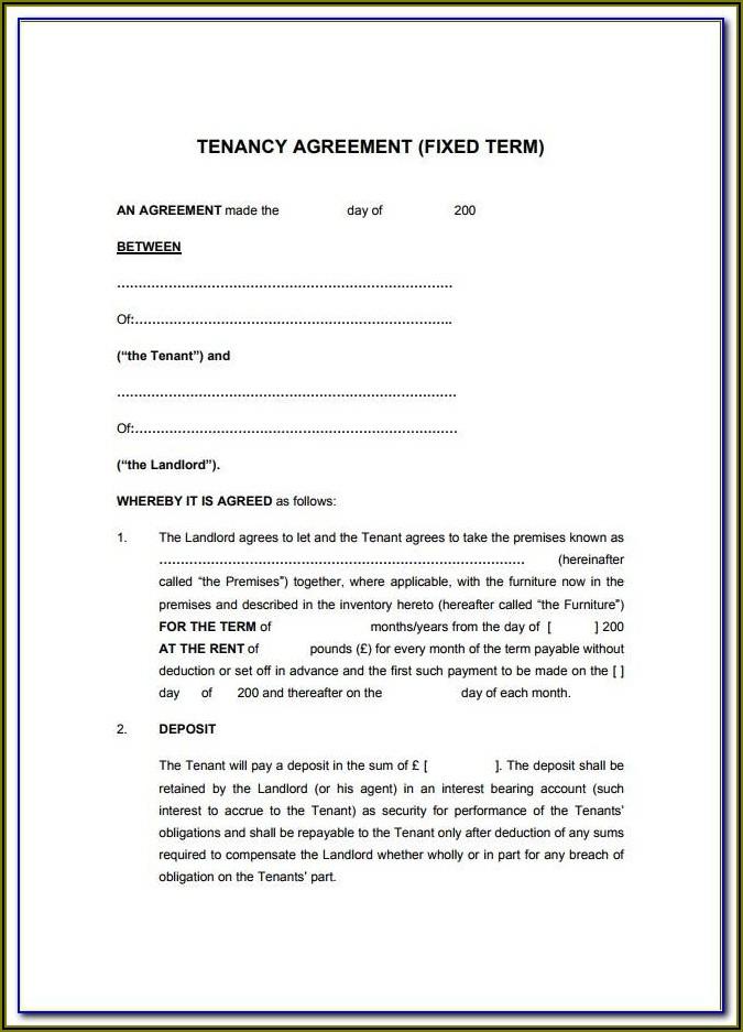 Tenancy Rental Agreement Template