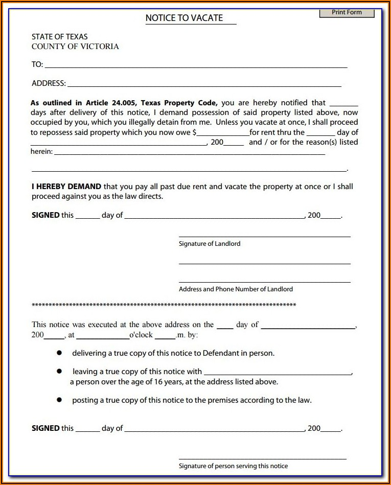Texas Apartment Association Notice To Vacate Form
