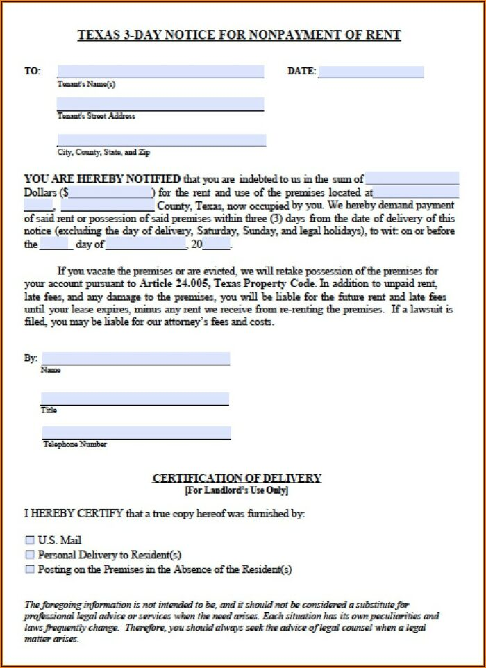 Texas Notice To Vacate For Unpaid Rent Form